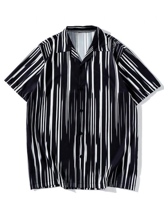 Chemise Boutonnée Rayée à Manches Courtes - Noir L