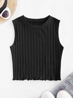 ZAFUL Ribbed Lettuce Trim Crop Top - Black S