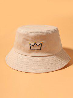 Crown Embroidered Bucket Hat - Beige