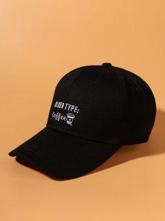 Graphic Embroidery Baseball Cap - Black
