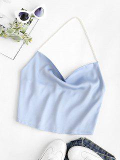 Faux Pearl Halter Cowl Neck Backless Top - Light Blue S