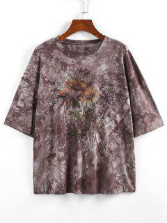 ZAFUL Sonnenblumen Slogan Krawattenfärbende Fallschulter T-Shirt - Grau Xl