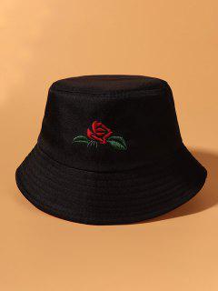 Chapeau Seau Feuille Et Rose Brodée - Noir