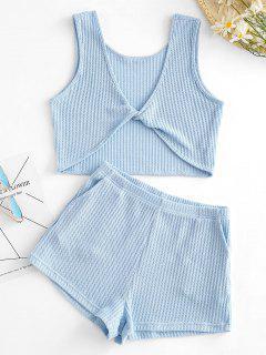 Gestrickte Verdrehtes Taschen Shorts Set - Blau S