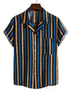 Kontrastierendes Streifen Kurzarm Hemd - Blau Xl