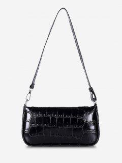 Minimalistic Embossed Rectangle Shoulder Bag - Black