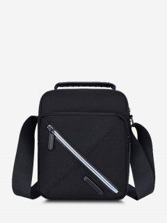 Contrast Zip Square Shoulder Bag - Black