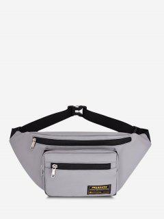 Letter Label Outdoor Waist Bag - Gray