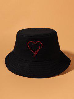 Embroidery Heart Love Pattern Bucket Hat - Black