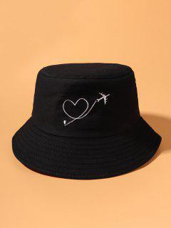 Cappello Da Pescatore Da Secchio Con Ricamo A Cuore E Aereo - Nero
