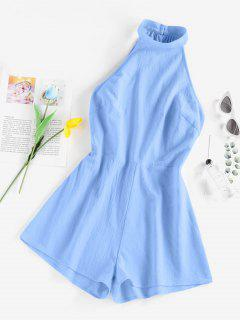 ZAFUL Open Back Cutaway Mock Neck Romper - Light Blue M