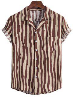 Irregular Stripe Short Sleeve Shirt - Coffee Xl