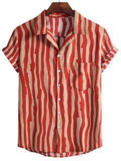 Irregular Stripe Short Sleeve Shirt - Red M