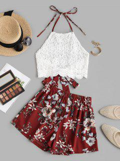 Halter Guipure Lace Top And Floral Shorts Set - Red L