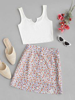 V-notch Ribbed Top And Ditsy Print Skirt Set - Multi M