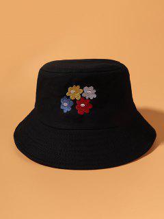 Cappello Da Pescatore A Secchiello Ricamato Con Motivo A Fiori - Nero