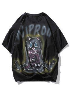 Letter Cat Devil Print Drop Shoulder T Shirt - Black Xl