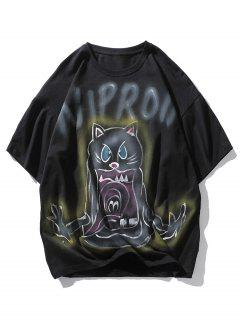 Letter Cat Devil Print Drop Shoulder T Shirt - Black M