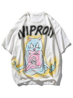 Buchstabe Katze Teufel Druck Fallschulter T-Shirt - Weiß Xl