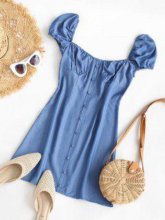 Chambray Buttoned Puff Sleeve Milkmaid Dress - Blue Xl