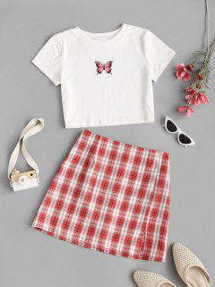 Cropped Butterfly Print Tee And Plaid Skirt Set - Red M