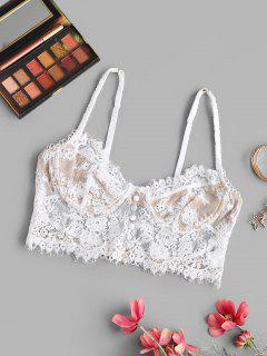 Lace Picot-trim Underwire Bralette Top - White M