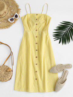 Vestido Corte A Cuadros Abotonado - Amarillo S