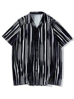 Striped Short Sleeves Button Up Shirt - Black M