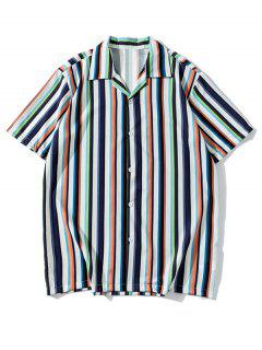 Camicia Casuale A Righe Colorate Con Maniche Corte - Lapis Lazuli L