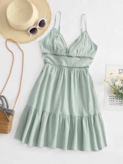 Gebundenes Hem V Ausschnitt Blumen Aushöhlende Kleid - Hellgrün S