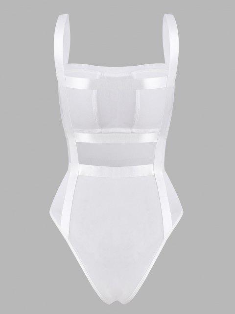 fancy Mesh Ladder Cutout Bandage Bodysuit - WHITE L Mobile