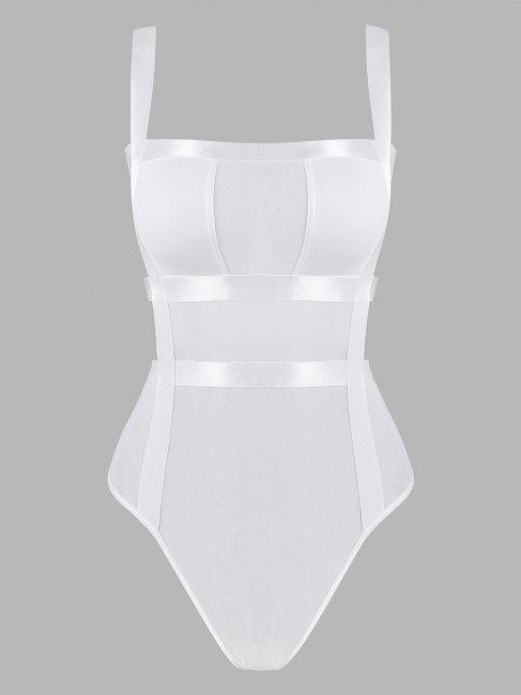 sale Mesh Ladder Cutout Bandage Bodysuit - WHITE M Mobile