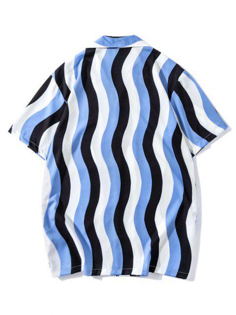 Welle Streifen Farbblock Kurzärmliges Freizeithemd - Knallblau M Mobile