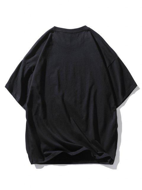 I AM NOT AFRAID Graphic Drop Shoulder T Shirt - أسود M Mobile