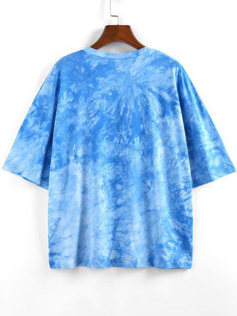 ZAFUL Sunflower Slogan Tie Dye Drop Shoulder T-shirt - أزرق S Mobile