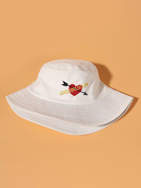 outfits Graphic Heart Embroidered Bucket Hat - WHITE  Mobile