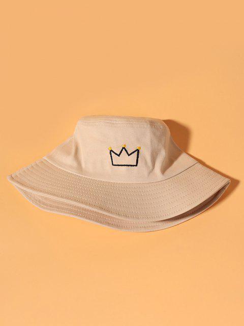 shop Crown Embroidered Bucket Hat - BEIGE  Mobile