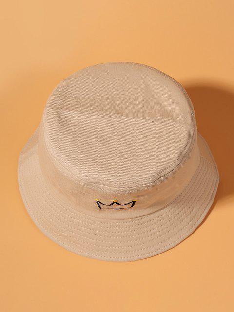 Crown Embroidered Bucket Hat - اللون البيج  Mobile