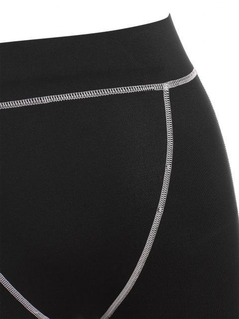 women Contrast Stitch Leggings - BLACK M Mobile
