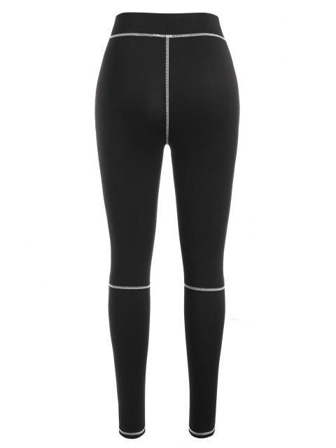 fancy Contrast Stitch Leggings - BLACK L Mobile