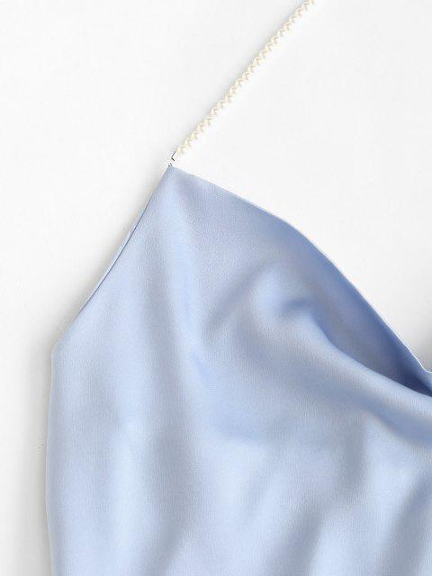 affordable Faux Pearl Halter Cowl Neck Backless Top - LIGHT BLUE S Mobile