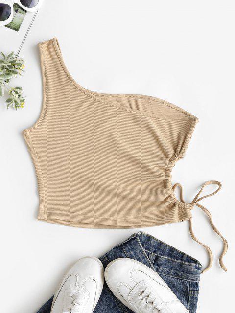 하나의 어깨 갈비뼈 니트 컷 아웃 넥타이 탑 - 라이트 커피 에스 Mobile