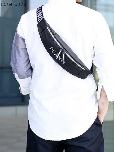 shops Letter Pattern Waterproof Cellphone Waist Bag - BLACK  Mobile