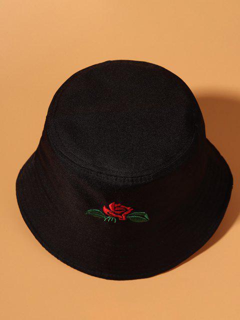 Chapeau Seau Feuille et Rose Brodée - Noir  Mobile