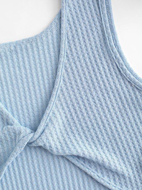Gestrickte Verdrehtes Taschen Shorts Set - Blau M Mobile