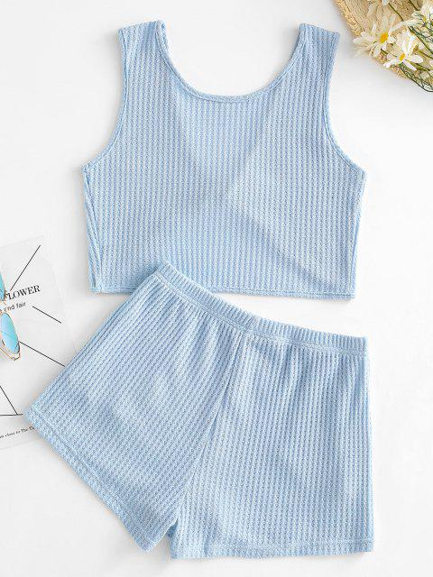 outfit Knitted Twisted Pocket Shorts Set - BLUE M Mobile
