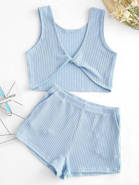 ladies Knitted Twisted Pocket Shorts Set - BLUE L Mobile