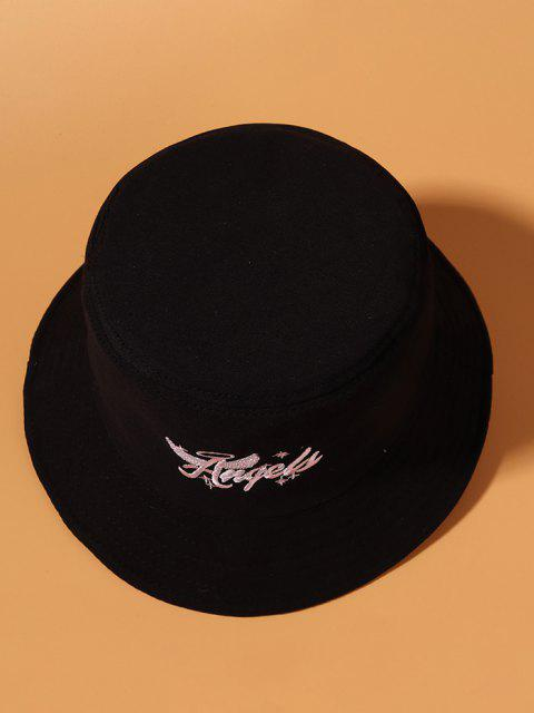 エンジェルウィング文字刺繍バケット帽子 - ブラック  Mobile