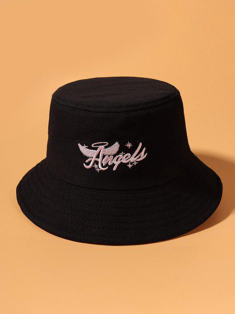 Angel Wing Letters Embroidered Bucket Hat - أسود  Mobile