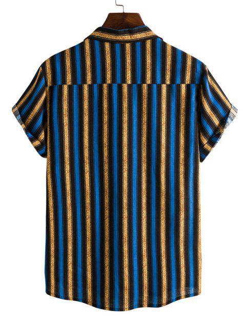 fancy Contrasting Stripe Short Sleeve Shirt - BLUE XXL Mobile